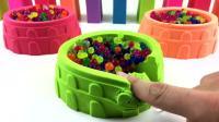 趣味亲子早教, 太空沙DIY小碗盛放波波球, 学习不同颜色