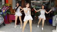 第一福利三个模特美女开业热舞表演饭拍秀