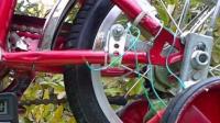 做了一个靠自行车轮胎转动的自由能发电机