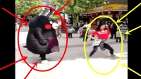 女主播大街上直播跳舞时, 遇到逗比! 这场面。。。