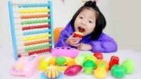 学习颜色英文! 小萝莉家中玩水果切切乐扮家家