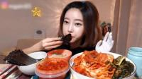 韩国美女吃辣白菜配白饭, 这大口吃的, 有点吓人! 河南电网客服电话
