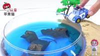 危险鳄鱼出现! 变形汽车警车珀利安巴泡澡堂 救援队儿童趣味汽车玩具故事