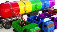 学习颜色3D趣味动漫 油罐车卡车运输糖果