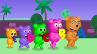 儿童早教益智动画英语儿歌: Gummy bear teaching VOWELS to gorillas