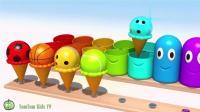 教宝宝认知颜色 趣味动画 玩冰淇淋跳出笑脸球游戏