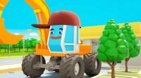 挖土机推土机和小货车玩滑滑梯