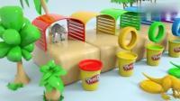益智趣味色彩启蒙: 恐龙穿过彩虹汽车轮胎, 学习颜色