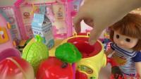 趣味启蒙, 小萝莉用冰淇淋机器把水果变出了漂亮惊喜蛋, 好多玩具呀