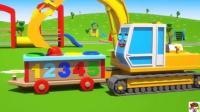 迪士尼工程车家族动漫 挖掘机在迪士尼乐园找到小球放在玩具小木车上玩