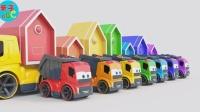 趣味学颜色: 不同颜色的卡车来运输不同颜色的足球啦!