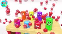 趣味亲子玩具 敲打柱子蹦出好多彩色小球 学习认识颜色