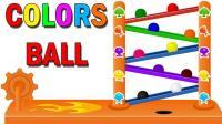 彩色小球球玩滑滑梯游戏