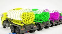 趣味早教: 6辆罐车装满不同颜色的球球 小动画学颜色