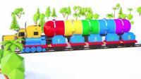 早教动画: 趣味汽车停车场+小火车运送货物 学颜色 数数