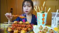 中国吃播, 美女吃麻辣串, 关东煮奶茶和其它, 看着馋死人了