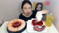 美女吃播弗朗西斯吃虾和章鱼足, 章鱼足嚼着太费劲了居然没吃完