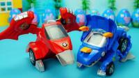 变形恐龙玩具 会变跑车还有趣味表情的三角龙和翼龙