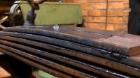 实拍卡车减震钢板制造过程,小小钢板撑起几十吨重量