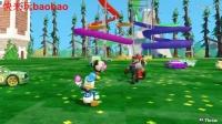 米老鼠和唐老鸭一起在迪士尼娱乐园。视频为小孩儿。儿童音乐。