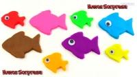 学习颜色!玩Doh鱼模具乐趣和创意为孩子PEZ微波玩具Kinder惊