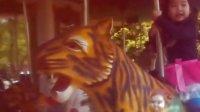 安安在公园玩旋转木老虎,哈哈