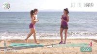 比基尼美女海边健身:打造性感双腿