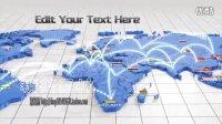 399-公司企业全球营销商务活动光线连接世界地图AE模板