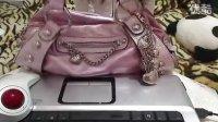 欧美亲购实拍Kathy Van Zeeland包包银粉色粉紫色肩包超炫钥匙链