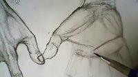 人体结构精细绘画技法157 手掌皮肤画法