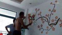 佛山液体壁纸背景墙手绘组合施工