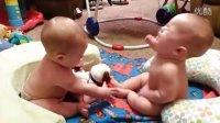 双胞胎婴儿争小狗真逗