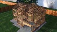 建筑动画  漂亮的木结构别墅建造过程演示 三维动画制作公司世峰数字科技SUFENCG.COM