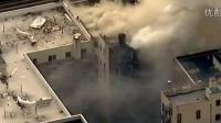 航拍纽约曼哈顿建筑物发生爆炸现场 2014年3月12日