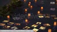 神奇夏夜在水面上漂浮的相片展示AE模板