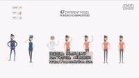 AE模板 卡通素材展示动画人物动作流畅多个人物可换装