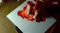 彩色铅笔画彩色铅笔的玫瑰逼真素描头像