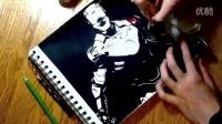 彩色铅笔画逼真的彩色铅笔钢铁侠素描头像