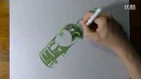 手绘一瓶伏加特酒3D画 挂在墙上怕掉下来_标清