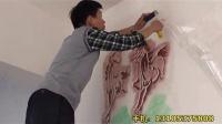 液体壁纸镂空模具施工八骏图全过程
