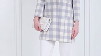 湿定制  蓝白格子贴袋手工双面羊毛呢大衣