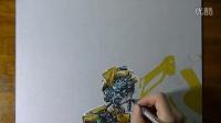 【藤缠楼】牛人手绘变形金刚大黄蜂画 [Marcello Barenghi]