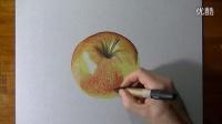意大利立体画家 彩色铅笔手绘 苹果3D画 超清写实