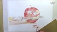 葱二作品:纸上彩铅--倔强的小苹果
