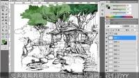 PS视频教程-CS5建筑景观后期效果处理-第19课 手绘线稿的上色(上)