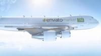 航空客机飞机空中风行动画logo演绎AE模板