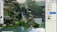 园林景观设计学习教程_ps效果图后期_假山瀑布溪水制作二