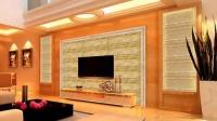 客厅电视背景墙装修效果图 树脂艺术背景砖 人造石线条【家居装修】
