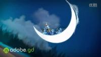 月亮上的圣诞节卡通祝福片头AE模板