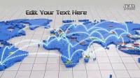 1022 世界地图网络链接AE模板